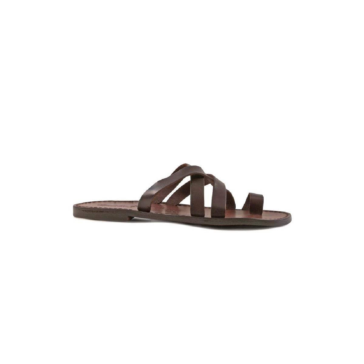 7eeb2e9818f6 Mens brown leather thong sandals handmade in Italy. Loading zoom