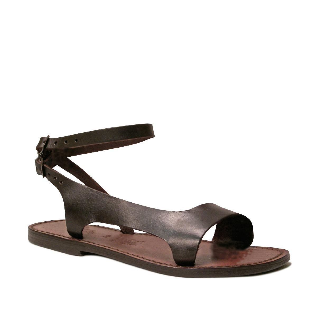 Model Womenu0026#39;s Brown Leather Sandals Strappy Slingback Flats By