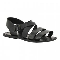 Hand gefertigte Herren-Sandalen aus schwarzen Leder