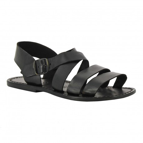 Handmade in Italy mens sandals in black leather