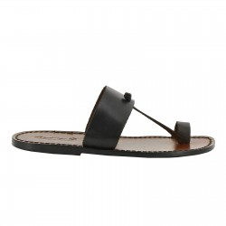 Dark Brown leather thong sandals Handmade in Italy