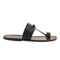 Sandalias de cuero marron oscuro hecho a mano en Italia