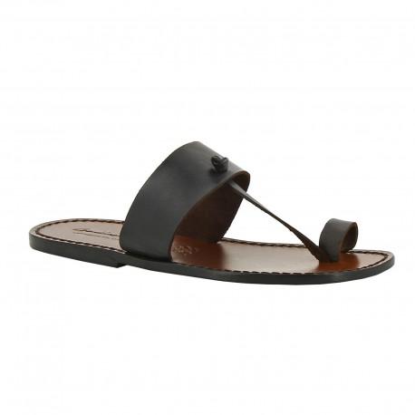 Sandals tong cuir homme marron foncé artisanales