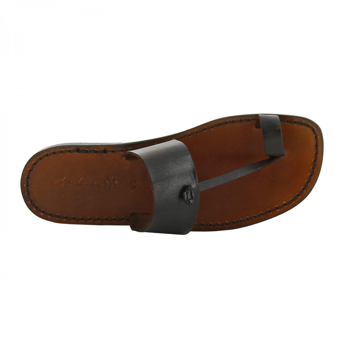 sandals tong cuir homme marron fonc artisanales gianluca l 39 artisan du cuir. Black Bedroom Furniture Sets. Home Design Ideas