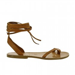 Handmade flat strappy sandals in tan calf leather