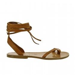 Hecho a mano sandalias de tiras planas de cuero marrón