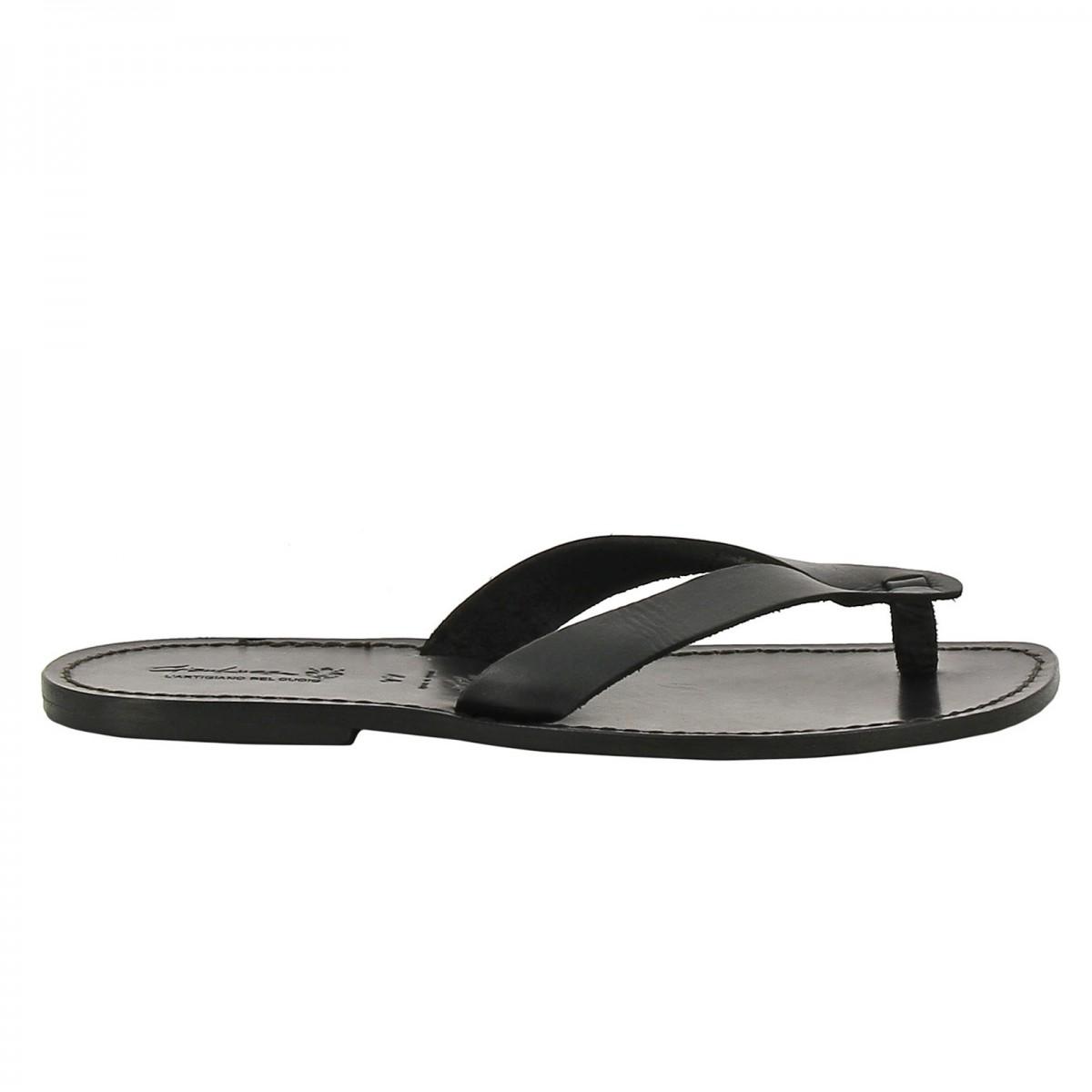 handgefertigte schwarze flip flops herren sandalen mit. Black Bedroom Furniture Sets. Home Design Ideas