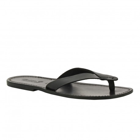 Handmade black leather thong sandals for men Made in Italy