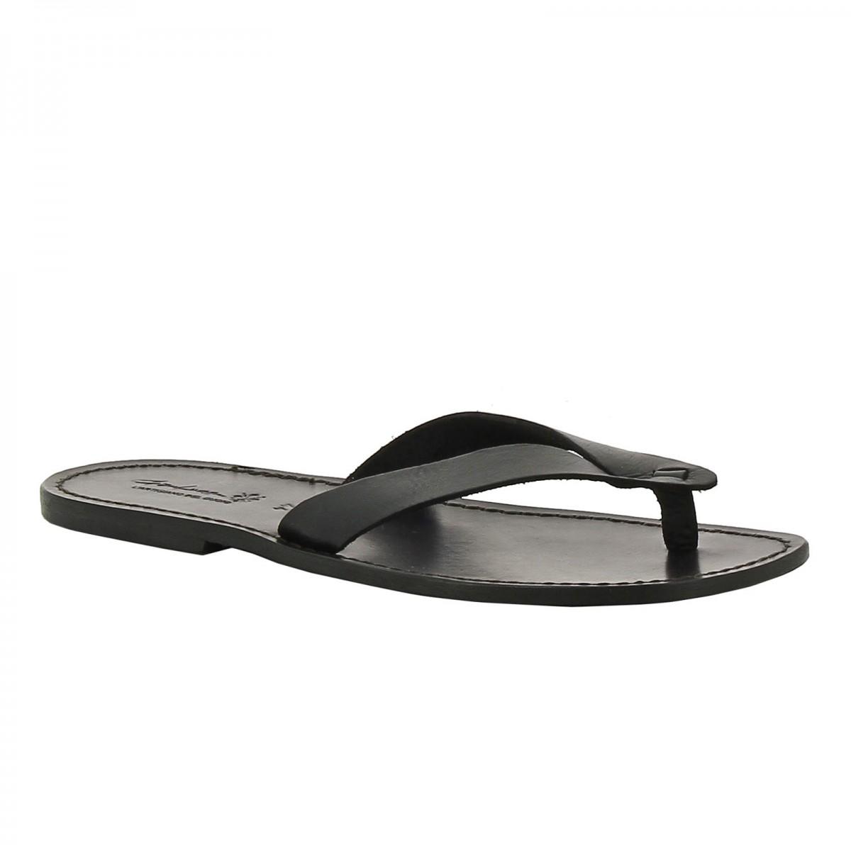1b7628fee7250d Handgefertigte schwarze flip flops Herren-Sandalen mit Leder-Reimen.  Loading zoom