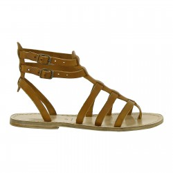 Women's flat gladiator sandals Handmade in Italy in tan leather