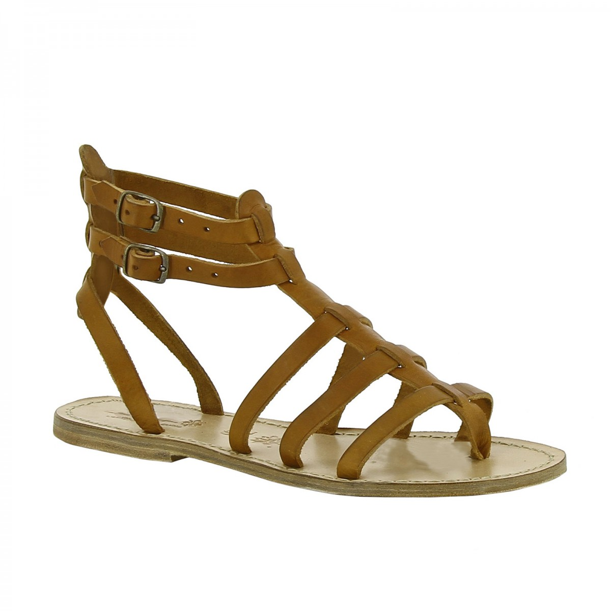 dee068ff77bc Women s flat gladiator sandals Handmade in Italy in tan leather. Loading  zoom