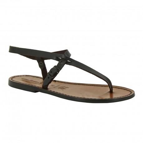 Sandalias planas piel marrón oscuro para mujer artesanales