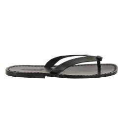 Handmade black leather thongs sandals for men