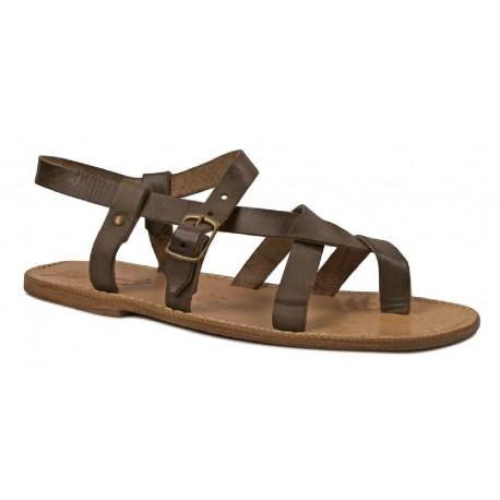 Sandales en vintage cuir fait à la main en couleur de boue