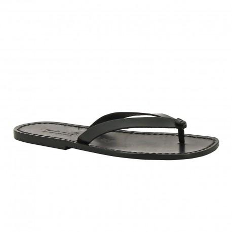 Sandalias de cuero negro hecho a mano para hombres