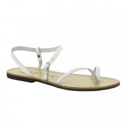 Sandalias de cuero blanco artesanales para las mujeres
