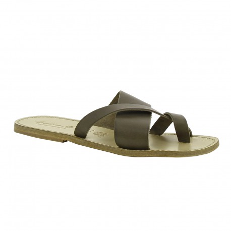 Leather thongs sandals for men in mud color