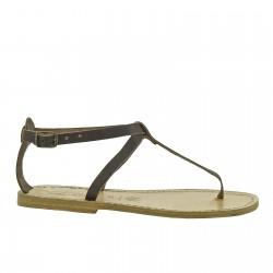 Handgefertigte Damen-Sandalen mit T-Steg aus dunkelbraun Leder