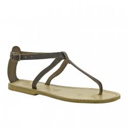 Handmade t-strap dark brown leather flat sandals for women