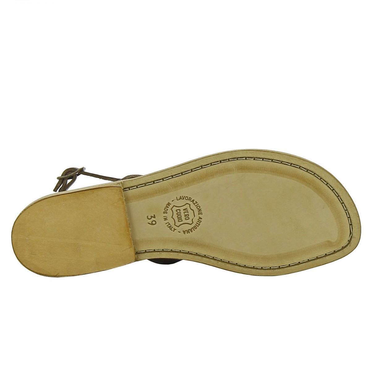 sandale tong en cuir marron fonc artisanales pour femme gianluca l 39 artisan du cuir. Black Bedroom Furniture Sets. Home Design Ideas