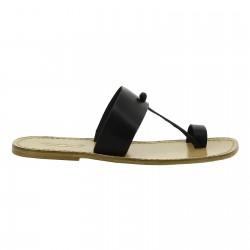 Schwarze Flip Flops aus Leder in Italien von Handgefertigt