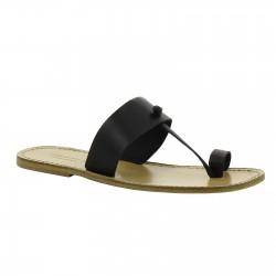 Sandalias de cuero negro hecho a mano en Italia