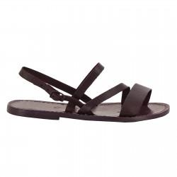 Women's flat violet leather sandals handmade
