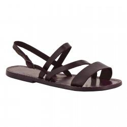 Sandale plate en cuir prune artisanales pour femme