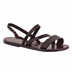 Flache Sandalen für Damen aus pflaume Leder