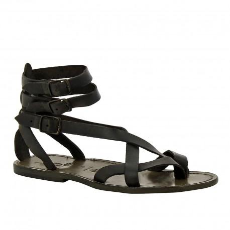 Sandalo gladiatore uomo in pelle nero