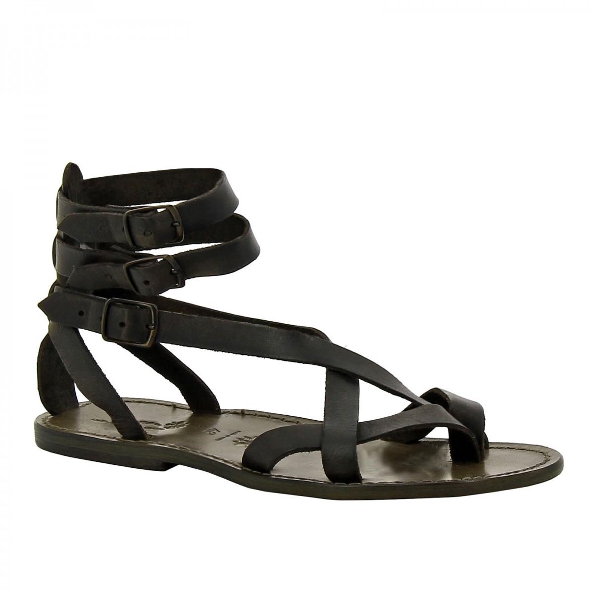 gladiator herren sandalen aus schwarz leder in italien von handgefertigt gianluca das leder. Black Bedroom Furniture Sets. Home Design Ideas