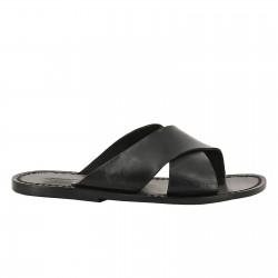 Zapatillas de cuero hecho a mano en Italia en cuero negro