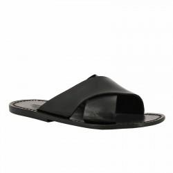 Lederslipper für Herren aus Schwarzen Leder in Italien von Handgefertigt