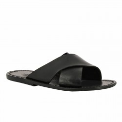 Mens leather slippers handmade in Italy in black leather