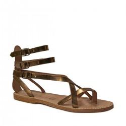 Hand gefertigte Damen-Riemchen-Sandalen im Gladiator-Stil mit Bronzelaminierung und Ledersohle