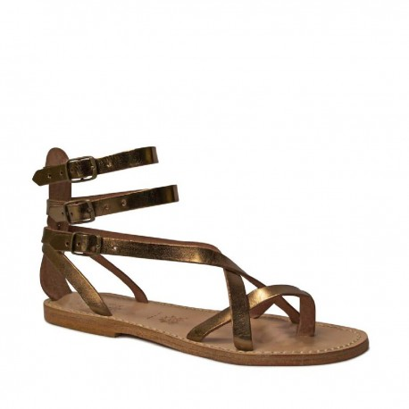 hand gefertigte damen riemchen sandalen im gladiator stil mit bronzelaminierung und ledersohle. Black Bedroom Furniture Sets. Home Design Ideas