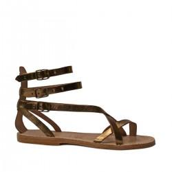 Sandalias de cuero bronce plana del gladiador