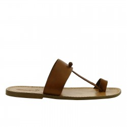 Tan leather toe loop sandals for men Handmade in Italy