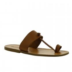 Sandales lanièr d'orteil pour homme artisanales en cuir marron