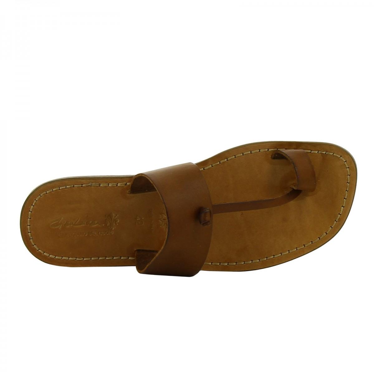 braunem herren sandalen zehenschlaufe in italien von handgefertigt gianluca das leder handwerker. Black Bedroom Furniture Sets. Home Design Ideas