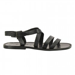 Handmade in Italy men's black leather Franciscan sandals