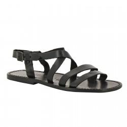 Sandales franciscaines pour homme en cuir noir travaillé à la main
