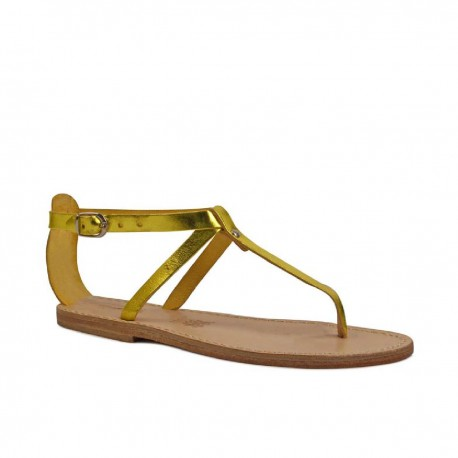 Sandals tongs en artisanales en cuir laminé jaune