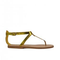 Damen-Riemchen-Sandalen mit gelber Laminierung in Italien von Hand gefertigt
