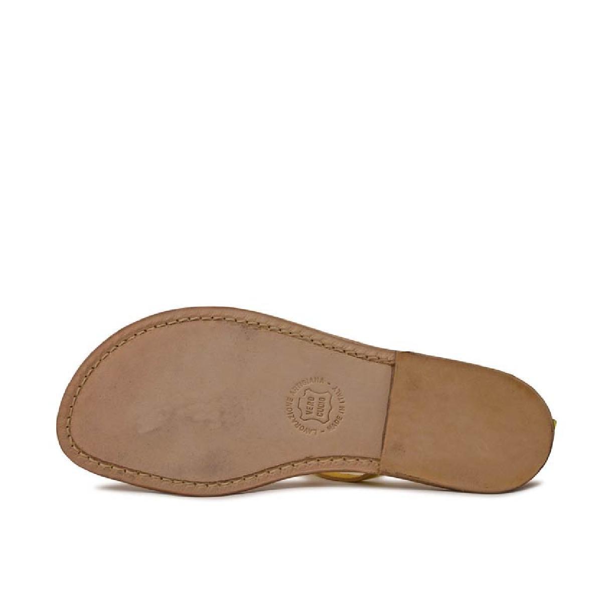damen riemchen sandalen mit gelber laminierung in italien. Black Bedroom Furniture Sets. Home Design Ideas
