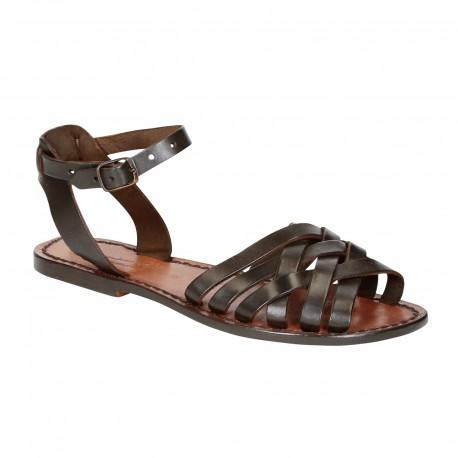 Dunkelbraune Damen-Sandalen in Italien von Handgefertigt aus echtem Leder