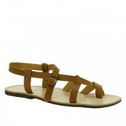 Handmade tan leather sandals for men with rubber sole