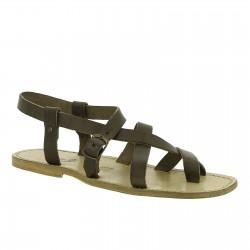 Sandalias gladiador para hombres de piel colores barro real