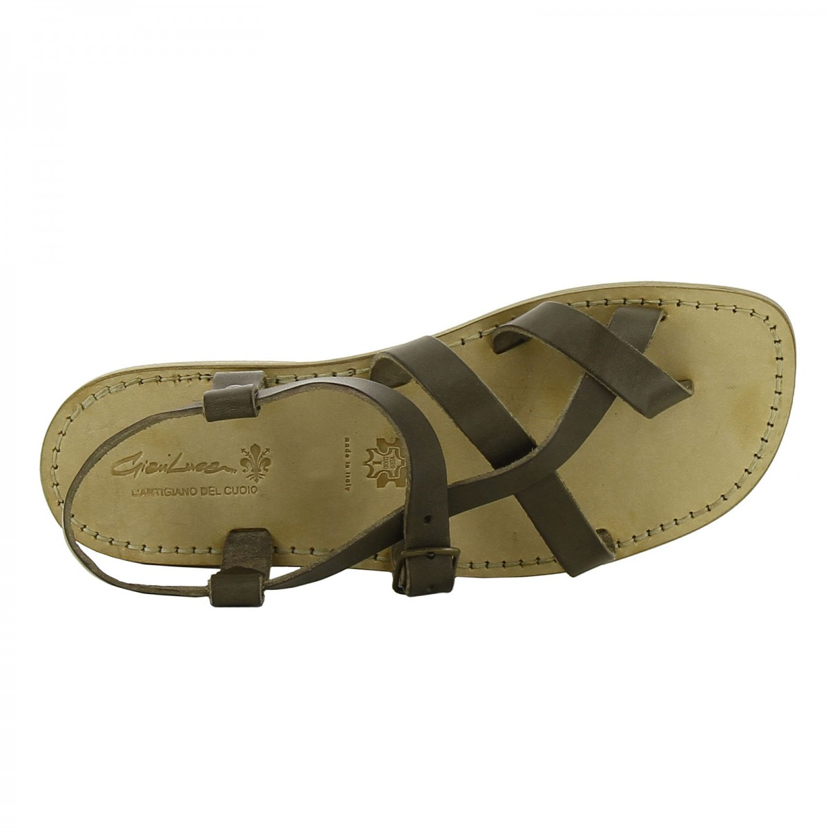 2123a0ce725 ... Gladiator sandals for men in mud color calf leather ...