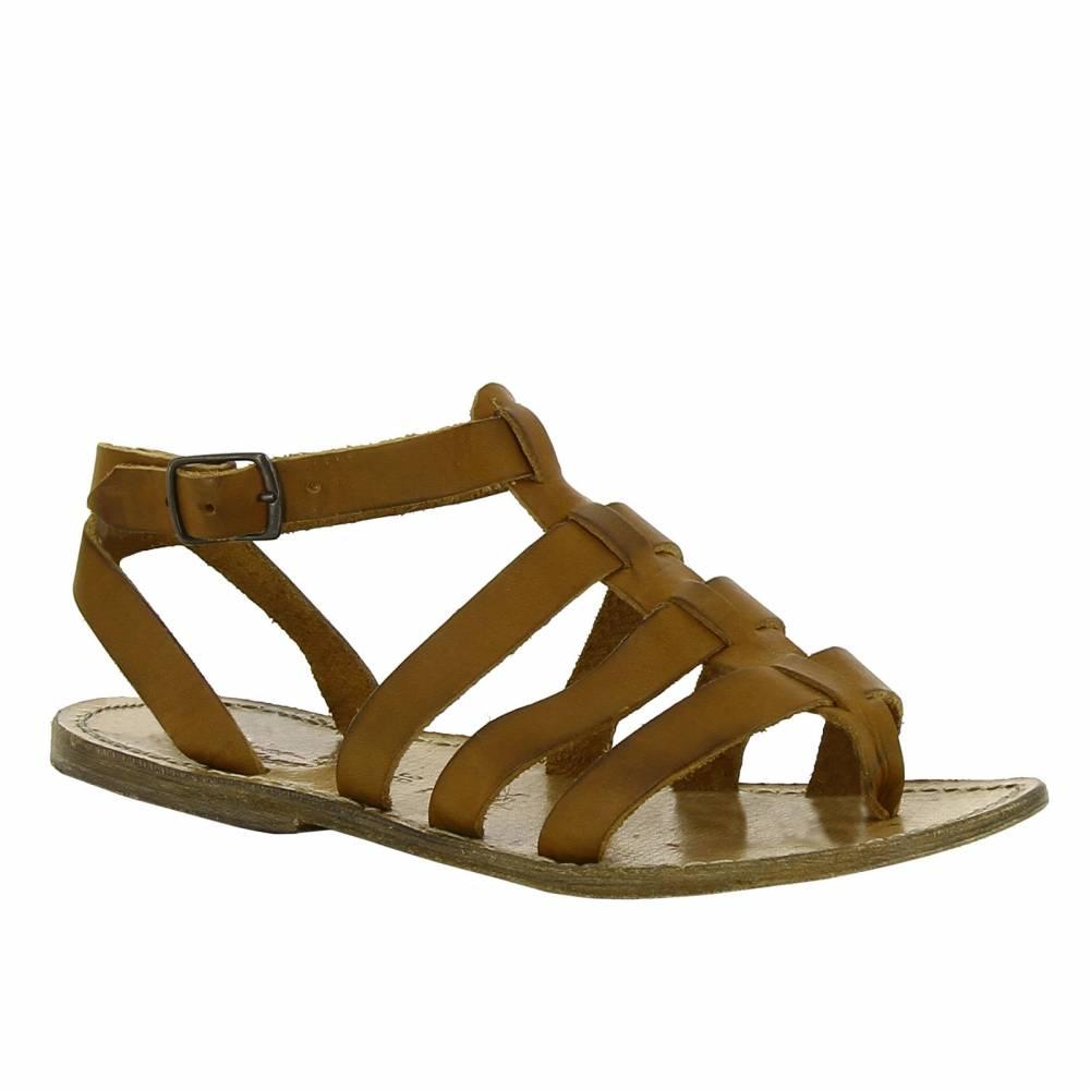 gladiator stil sandalen f r frau mit vintage effekt gianluca das leder handwerker. Black Bedroom Furniture Sets. Home Design Ideas